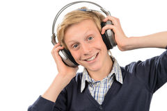 Happy boy listening to music Royalty Free Stock Photos