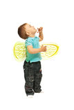 Happy boy looking up. Happy boy with bee wings looking up isolated on white background Stock Photo