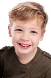 Happy Boy Looking Up to Camera. Royalty Free Stock Images