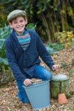 Happy Boy Male Child Gardening Stock Images
