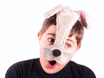 Happy boy in mask. On white Royalty Free Stock Image