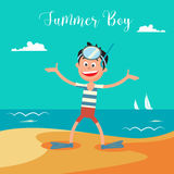 Happy Boy in Mask for Diving on Summer Beach Vacation. Stock Photography