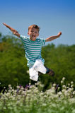 Happy boy on meadow Stock Photo