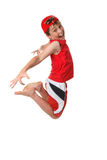 Happy boy mid jump Royalty Free Stock Images