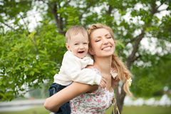 Happy boy with mom Royalty Free Stock Image