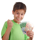 Happy boy with money Royalty Free Stock Photos
