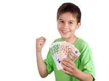 Happy boy with money in his hand Stock Images