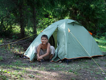 Happy boy near camping tent Royalty Free Stock Photography