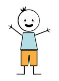 Happy boy with open arms icon stick figure Royalty Free Stock Photo