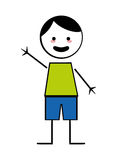 Happy boy with open arms icon stick figure Royalty Free Stock Photography