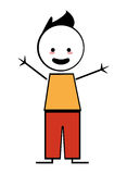 Happy boy with open arms icon stick figure Stock Photos