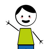 Happy boy with open arms icon stick figure Stock Image