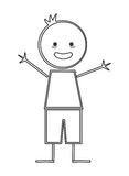 Happy boy with open arms icon stick figure Stock Photo