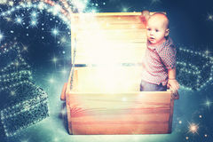 Happy  Boy Opening a Gift Box Royalty Free Stock Images