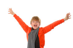 Happy boy. Boy in orange shirt is jubilantly Royalty Free Stock Photography