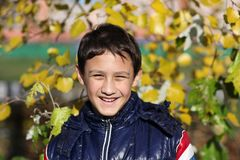 Happy boy outdoors in autumn Royalty Free Stock Images