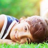 Happy boy outdoors Royalty Free Stock Image