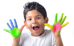 Happy boy with paint having fun Royalty Free Stock Photos
