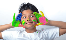 Happy boy with paint having fun Stock Photography