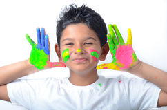 Happy boy with paint having fun Royalty Free Stock Photo