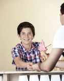 Happy Boy Paying For Strawberry Ice Cream To Waiter Stock Image