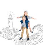 Boy piggybacking sister. Happy boy piggybacking adorable little sister with seaside illustration on background royalty free illustration