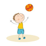 Happy boy playing with ball. Original hand drawn illustration of happy boy playing with ball Stock Photos