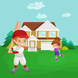 Happy boy playing baseball, kids sport, childrens activity vector illustration Royalty Free Stock Photography