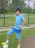 Happy Boy is playing football Royalty Free Stock Photo