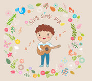 Happy boy playing guitar and  sing a song  illustration Royalty Free Stock Photos