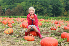 Happy boy playing on pumpkin field Royalty Free Stock Photos