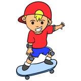 Happy boy playing skateboard character Stock Photos