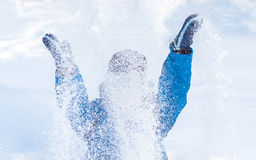 Happy boy is playing with snow Stock Photography