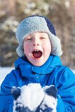Happy boy is playing with snow Stock Images