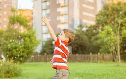 Happy boy playing with soap bubbles in the park Stock Photo