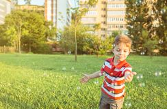 Happy boy playing with soap bubbles in the park. Happy cute boy playing to catch soap bubbles in the park Stock Image