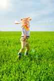 Happy boy playing with toy airplane against blue summer sky and green field background. Royalty Free Stock Photo