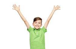 Happy boy in polo t-shirt raising hands up Royalty Free Stock Images