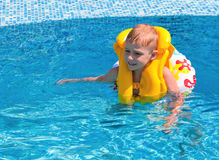 Happy boy at pool Stock Photography