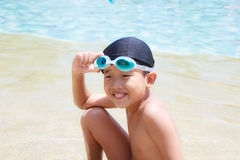 Happy boy at pool Royalty Free Stock Photos