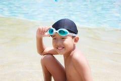 Happy boy at pool Royalty Free Stock Photos