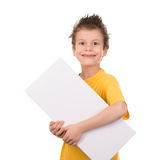Happy boy portrait with gift on white Stock Photography