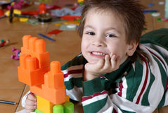 Happy boy of preschool age stock photo