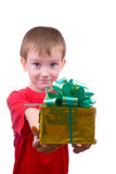 Happy boy with present Stock Images