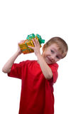 Happy boy with present Royalty Free Stock Image