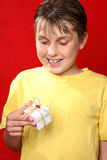Happy boy with present of gift Royalty Free Stock Photography