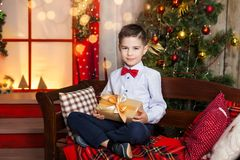 A boy in a christmas studio Royalty Free Stock Image