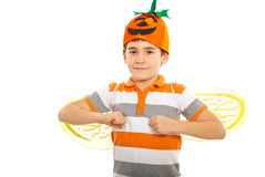 Happy boy with pumpkin hat. And bee wings isolated on white background Royalty Free Stock Photos