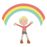 Happy boy with rainbow Royalty Free Stock Photo