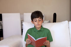 Happy Boy is Reading a Book Stock Photography